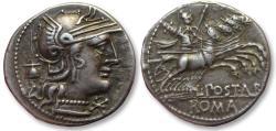 Ancient Coins - AR denarius. L. Postumius Albinus, Rome 131 B.C. - in beautiful condition for the type -