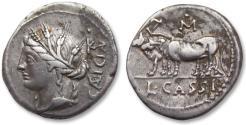 Ancient Coins - AR Denarius, L. Cassius Caecianus, Rome 102 B.C. - obverse control letter K, reverse M• -