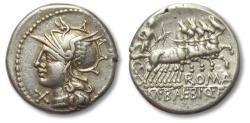 Ancient Coins - AR Denarius, M. Baebius Q. f. Tampilus. Rome, 137 B.C. - gold iridescent toning -