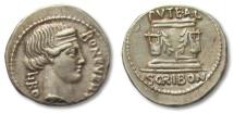 Ancient Coins -  AR denarius L. Scribonius Libo, Rome 62 B.C.