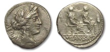 Ancient Coins - AR denarius L. Critonius and M. Fannius, Rome 86 B.C.
