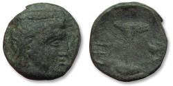 Ancient Coins - AE dichalkon Argos, Argolis circa 330-270 B.C. - Pillar fountain; helmet to left, archaic heta to right -