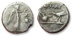 Ancient Coins - AR quinarius Marc Antony and Lepidus, military mint traveling in Transalpine Gaul 43 B.C.