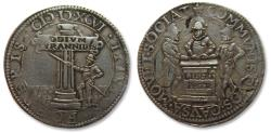 World Coins - Spanish Netherlands AR (or AE silvered?) jeton Dordrecht mint 1596: on the vigilance with truce & the triple alliance