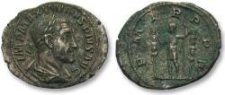 Ancient Coins - AR denarius Maximinus I Thrax, Rome 235 A.D. -- P M TR P P P, emperor & standards --