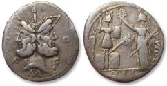Ancient Coins - AR denarius M. Fourius Philus, 119 B.C.