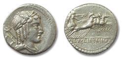 Ancient Coins - AR denarius L. Julius Bursio, Rome 85 BC
