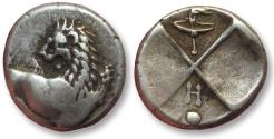 Ancient Coins - AR hemidrachm Thrace, Chersonesos 386-338 B.C. -- torch and H symbols --