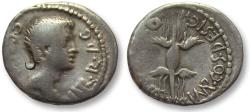Ancient Coins - AR denarius Octavian, struck under Q. Salvius, mobile military mint in Italy early 40 B.C.