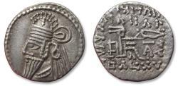 Ancient Coins - Kings of Parthia. AR drachm, Vologases IV. Ekbatana mint, circa 147-191 A.D.
