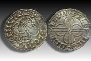 World Coins - Quatrefoil type AR penny Cnut the Great - MALDON mint 1017-1023 A.D. - moneyer ÆLPINE