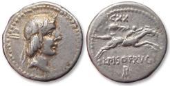 Ancient Coins - AR denarius L. Calpurnius Piso L.f. Frugi - Rome mint 90 B.C. - control numbers CXX and CII -
