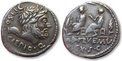 Ancient Coins - AR Denarius, L. Calpurnius Piso Caesonius, Q. Servilius Caepio, Rome 100 B.C.