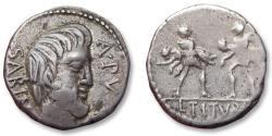 Ancient Coins - AR denarius L. Titurius L.f. Sabinus, Rome mint 89 B.C. - the abduction of the Sabine women -