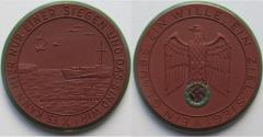 World Coins - Nazi Germany WW2 brown & green/black enameled porcelain medal 1941: on the war against England - rare -