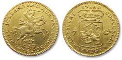 """Ancient Coins - AV/AU Dutch 7 gulden / guilder """"half gold rider"""" (halve gouden rijder), Holland 1760"""