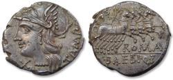 Ancient Coins - AR denarius M. Baebius Q. f. Tampilus. Rome, 137 B.C. - sharply struck -