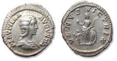 Ancient Coins - AR denarius, Plautilla (struck under Caracalla). Rome mint 202-205 A.D. - VENVS VICTRIX. Venus standing left, little cupid in front -