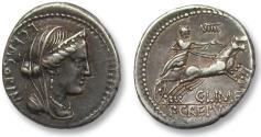 Ancient Coins - AR Denarius, L. Marcius Censorinus, C. Mamilius C.f. Limetanus and P. Crepusius. Rome, 82 B.C.