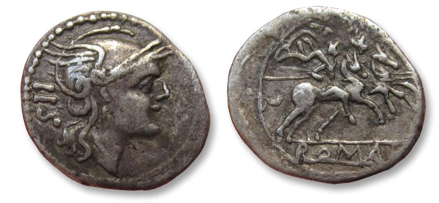 Ancient Coins - AR sestertius, anonymous issue, after 211 B.C. - scarce tiny early Roman coin -