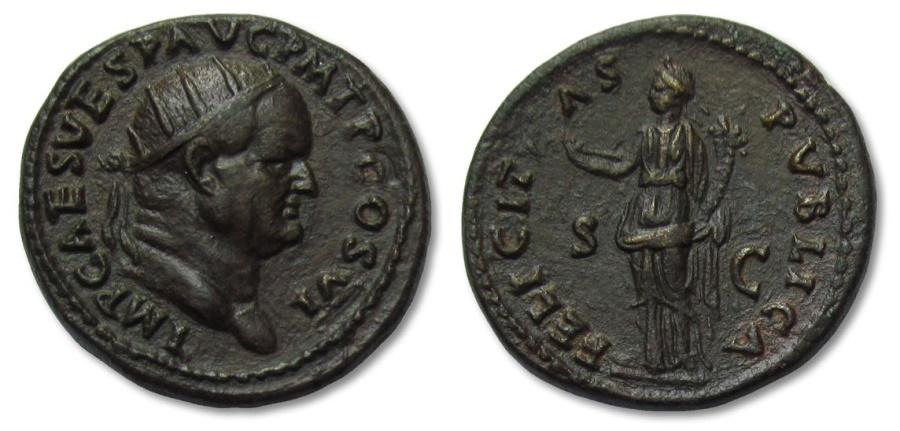 Ancient Coins - AE dupondius Vespasianus, Rome 75 A.D. -- magnificent coin --
