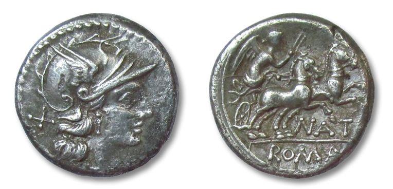 Ancient Coins - HS: AR denarius Pinarius Natta, Rome 155/149 B.C.