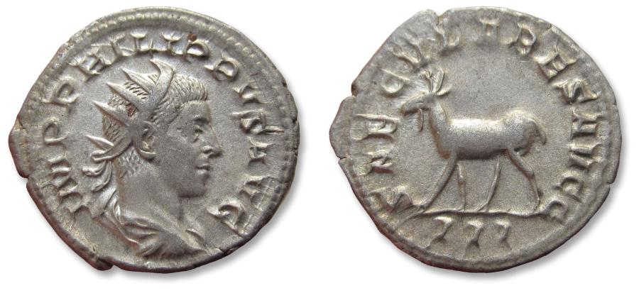 Ancient Coins - AR antoninianus, Philip II, son of Philip I, as co-emperor - rare coin - Rome mint 248 A.D. - celebrating 1000 years Rome, elk or goat left -