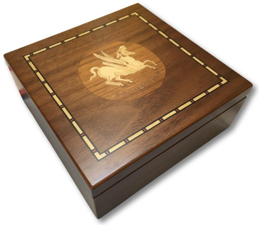 Ancient Coins - Small walnut veneered coin case decorated with coin from EMPORION, SPAIN - holds 30-150 coins (depending on tray choice)-