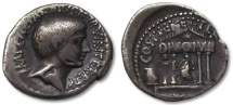 Ancient Coins - AR denarius Octavian, mobile military mint southern/central Italy 36 B.C.