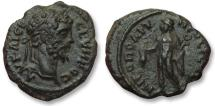 Ancient Coins - AE 18 (assarion) Septimius Severus, - Nikopolis ad Istrum 193-211 A.D. -- Hermes with purse --