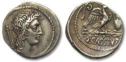 Ancient Coins - AR denarius Q. Cassius Longinus, Rome 55 B.C. -- heavy coin, great toning --