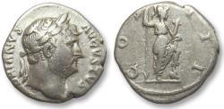 Ancient Coins - AR denarius Hadrian / Hadrianus, Rome 125-128 A.D. -- Roma or Virtus standing right --