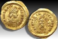 Gold Tremissis Marcianus, Constantinople mint AD 450 - little coin in great condition