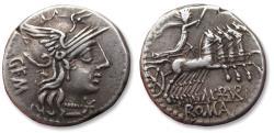 Ancient Coins - AR denarius M. Aburius M. f. Geminus, Rome 132 B.C.