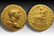 AV gold aureus Trajan / Trajanus - Rome mint 114-116 A.D. - P M TR P COS VI PP SPQR, FORT RED -