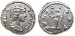Ancient Coins - AR denarius, Julia Domna, Rome mint 196-211 A.D. - FELICITAS, Felicitas standing left -