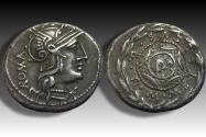 Ancient Coins - AR denarius M. Caecilius Q.f. Metellus, Rome 127 B.C. -- beautiful sharply struck coin --