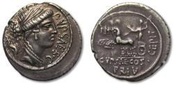 Ancient Coins - AR Denarius, P. Plautius Hypsaeus, Rome 60 B.C. - beautiful portrait & toning -