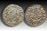 World Coins - Pointed Helmet type AR penny Cnut the Great - THETFORD mint 1024-1030 A.D. - moneyer ÆLFPINE