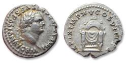 AR denarius Titus as Augustus. Rome mint January-June 80 A.D. - Pulvinar reverse -