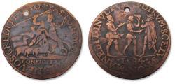 World Coins - Spanish Netherlands AE jeton Dordrecht mint 1584: on the murder of Prince Willem of Orange