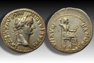 Ancient Coins - AR denarius Tiberius, Lugdunum 14-37 A.D. - famous tribute penny type in beautiful condition -