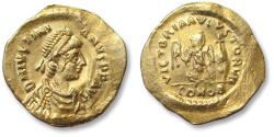 Ancient Coins - AV gold tremissis Justinian I / Justinianus I. Constantinople mint 527-565 A.D. - quite sharply struck -