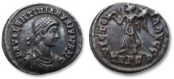 Ancient Coins - AR Siliqua, Valentinian II / Valentinianus II. Treveri (Trier) mint circa 375-383 A.D. - TRPS in exergue (2nd or 6th officina)