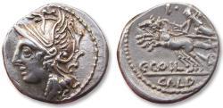 Ancient Coins - AR denarius C. Coilius/Coelius Caldus, Rome 104 B.C. - control letter I on reverse -
