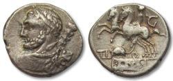 Ancient Coins - AR denarius Ti. Quinctius, Rome 112-111 B.C. -- control letter G & rat left --