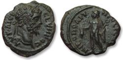 Ancient Coins - AE 18 (assarion) Septimius Severus, - Nikopolis ad Istrum 193-211 A.D. -- Hermes with purse --