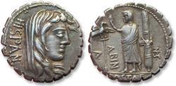Ancient Coins - AR denarius A. Postumius A.f. S.n. Albinus, Rome 81 B.C. -- beautiful & heavy coin --