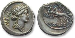 Ancient Coins - AR denarius C. Considius Paetus, Rome 46 B.C. - Superb strike & beautiful gold/blue irridescence -