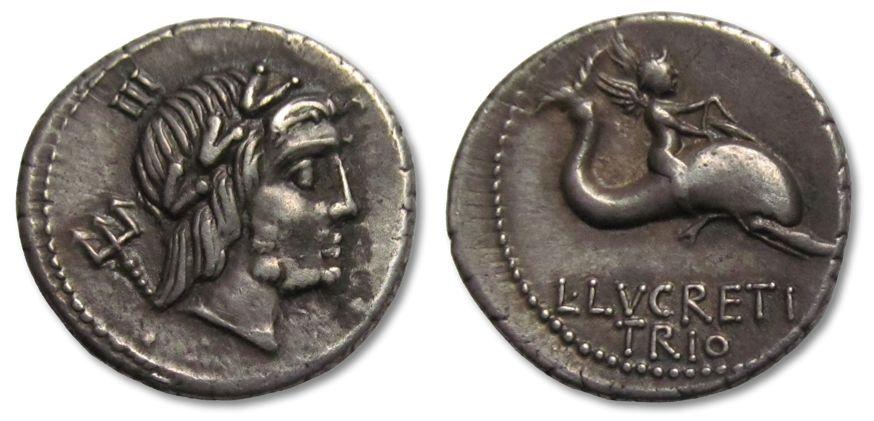 Ancient Coins - AR denarius L. Lucretius Trio, Rome 76 B.C. --great strike & toning--